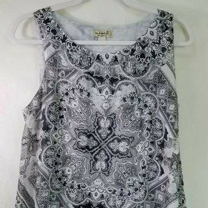 One World Layered Black White Tank Top Size Small